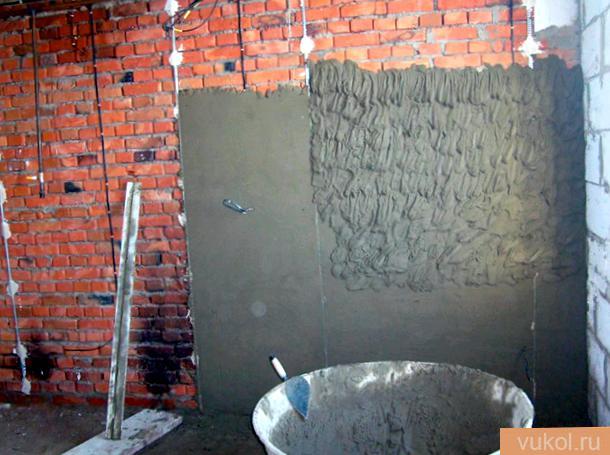 Цементная штукатурка стенок