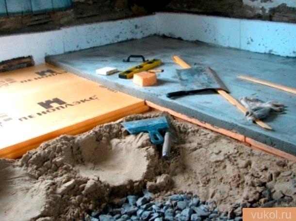Цементный пол по грунту