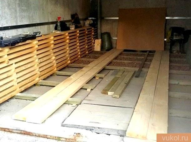 Делаем древесный пол в гараже