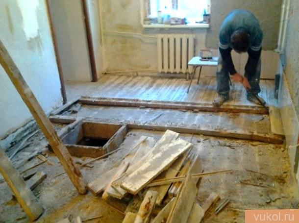 Демонтаж древесного пола