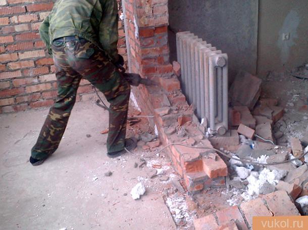 Демонтаж кирпичных стенок