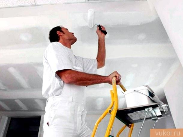 Грунтование потолка перед покраской