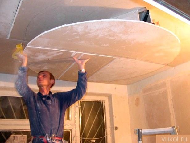 Установка ламината на потолок