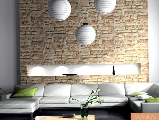 Отделка стенок кухни декоративным камнем