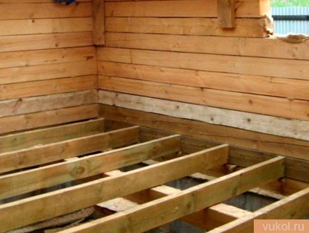 Перекрытие пола по древесным опорам