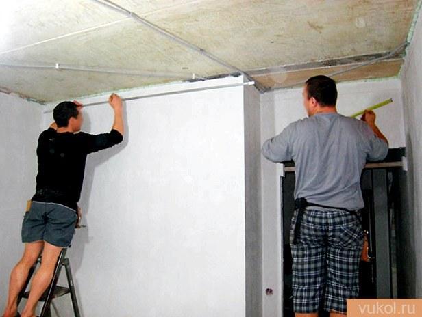 Подготовка поверхности под натяжной потолок